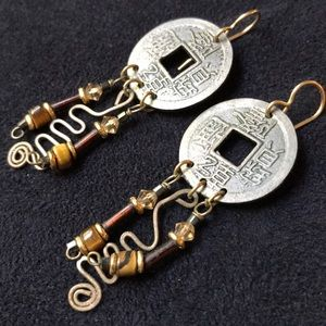 Chinese Coin & Bead Earrings